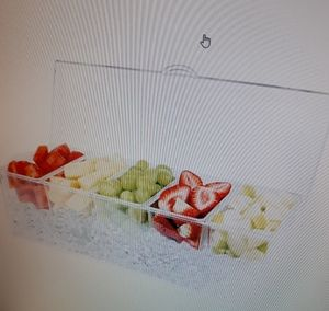 Condiment server on ice with 4 compartments